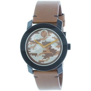 Movado Men's Bold 3600301 Brown Leather Leather Swiss Quartz Watch