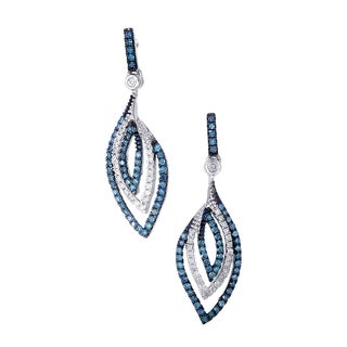 14k White Gold 5/8ct TDW Blue and White Diamond Drop Earrings