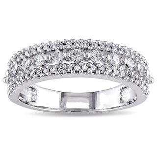 Miadora 10k White Gold 1/2ct TDW Princess Diamond Triple Row Anniversary Band (G-H, I2-I3)