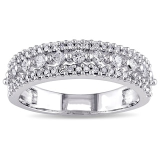 Miadora 10k White Gold 1/2ct TDW Princess Diamond Triple Row Anniversary Band