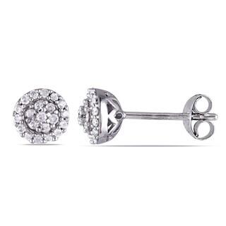 Miadora Sterling Silver 1/4ct TDW Diamond Halo Earrings