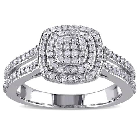 Miadora Sterling Silver 1/2ct TDW Diamond Halo Ring - White