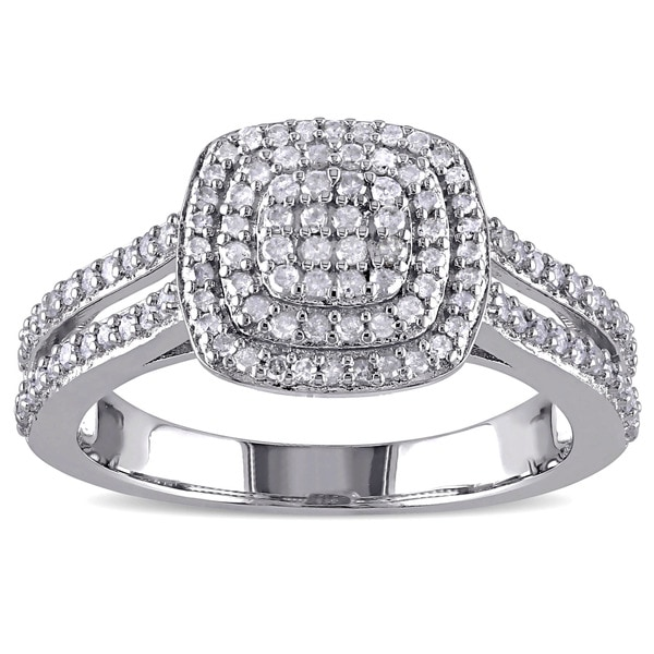Miadora Sterling Silver 1/2ct TDW Diamond Halo Ring