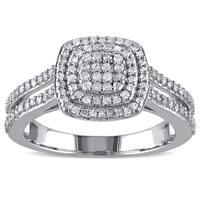 Miadora Sterling Silver 1/2ct TDW Diamond Halo Ring
