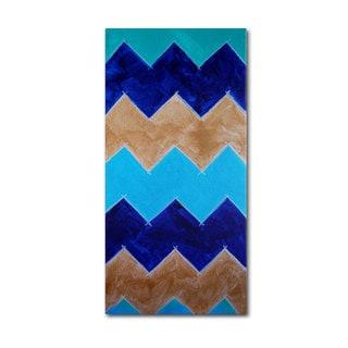 Nicole Dietz 'Blue and Gold Chevron' Canvas Art