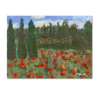 Manor Shadian 'Red Poppies in the Wood' Canvas Art