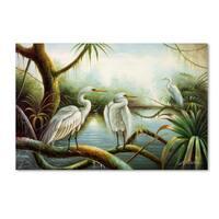 Victor Giton 'Three Herons' Canvas Art