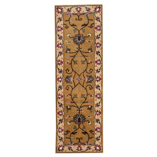 Herat Oriental Indo Hand-tufted Mahal Tan/ Ivory Wool Rug (2'7 x 8'1)