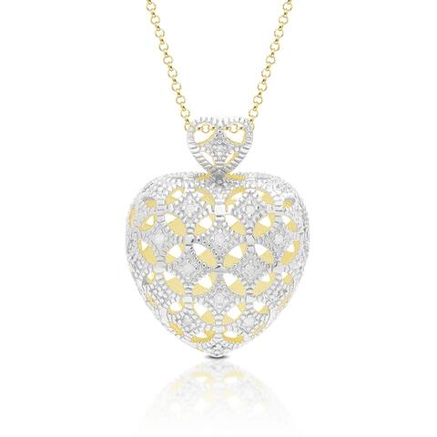 Finesque Gold Over Sterling Silver Diamond Accent Lattice Heart Necklace