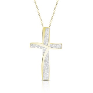 Finesque Gold Over Silver or Sterling Silver 1/4 ct TDW Diamond Cross Necklace