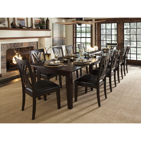 Shop Asha 11 Piece Solid Wood Dining Set Free Shipping