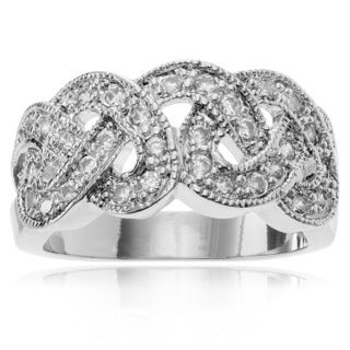 Journee Collection Women's Cubic Zirconia Accent Weave Ring Band (4 options available)