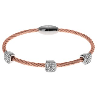 Journee Collection Metal Cubic Zirconia Accent Two-tone Rope Bangle