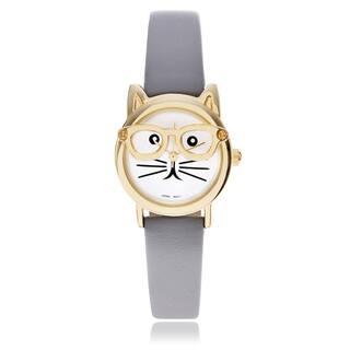 Geneva Platinum Women's Cat Face Leather Strap Watch|https://ak1.ostkcdn.com/images/products/10434819/P17532386.jpg?impolicy=medium