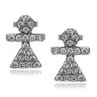 Journee Collection Metal Cubic Zirconia Girl Stud Earrings
