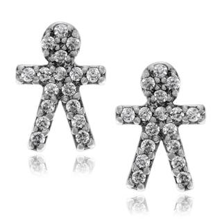 Journee Collection Metal Cubic Zirconia Boy Stud Earrings