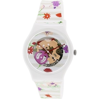 Swatch Women's Originals GZ290 Floral Print Rubber Swiss Quartz Watch