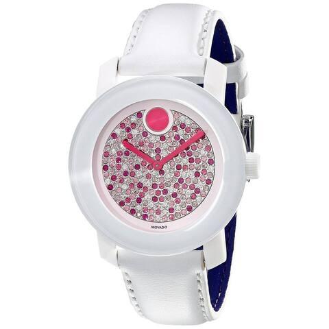 Movado Women's Bold 3600262 White Leather Swiss Quartz Watch