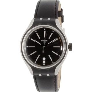 Swatch Men's Irony YES4003 Black Leather Quartz Watch