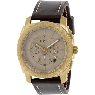 Fossil Men's FS5075 Machine Chronograph Beige Dial Brown Leather Watch