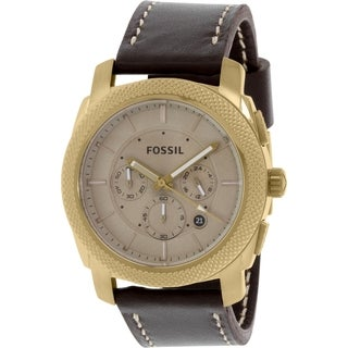 Fossil Men's Machine Chronograph Beige Dial Brown Leather Watch