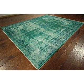 Hand-knotted Iran Persian Kerman Mint Green Overdyed Wool Rug (9' x 12', 9' x 10')