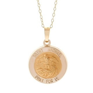 Pori 14k Yellow Gold Saint Michael Medallion Pendant Necklace with 18k Gold-filled Cable Chain