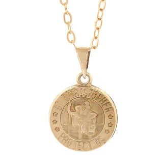 Pori 14k Yellow Gold Saint Christopher Medallion Pendant Necklace with 18k Gold-filled Cable Chain