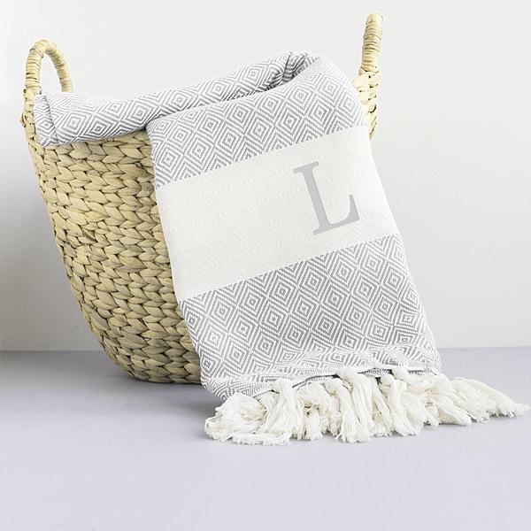 Personalized Grey Turkish Throw Blanket
