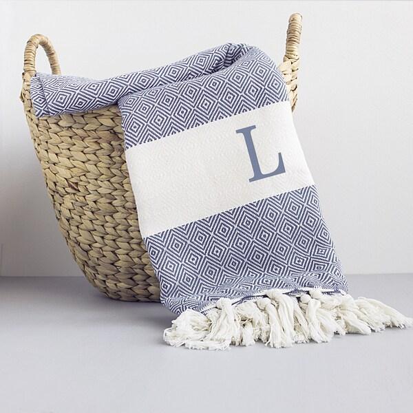 Personalized Blue Denim Turkish Throw Blanket