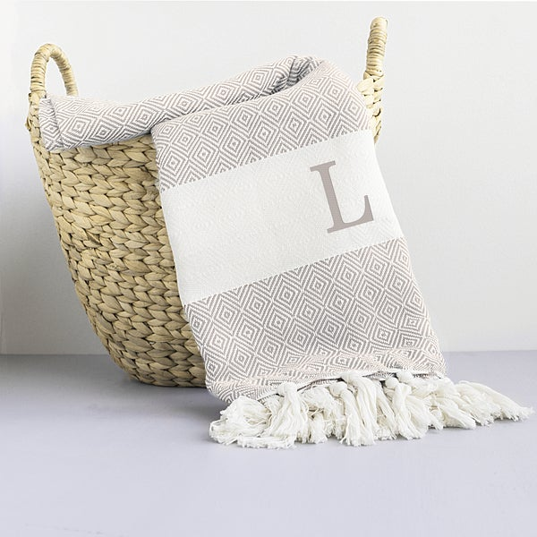 Personalized Beige Turkish Throw Blanket
