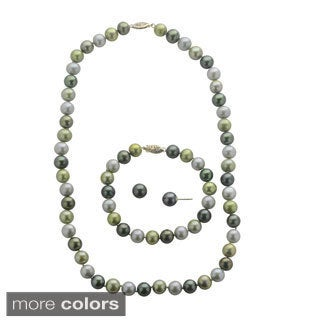 Pearls For You 14k Gold Dyed Multi-colored Freshwater Pearl 3-piece Jewelry Set (8.5-9mm)(9-10mm)