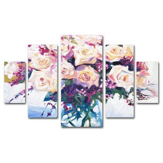 David Lloyd Glover 'Roses in Glass' 5 Panel Art Set