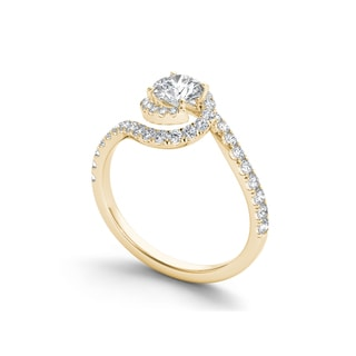 De Couer 14k Gold 3/4ct TDW Diamond Bypass Halo Engagement Ring