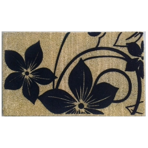 Coir Black Flowers Doormat