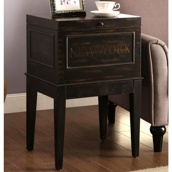 Great New York Paris London Rome Antique Distressed Black Storage Accent Table