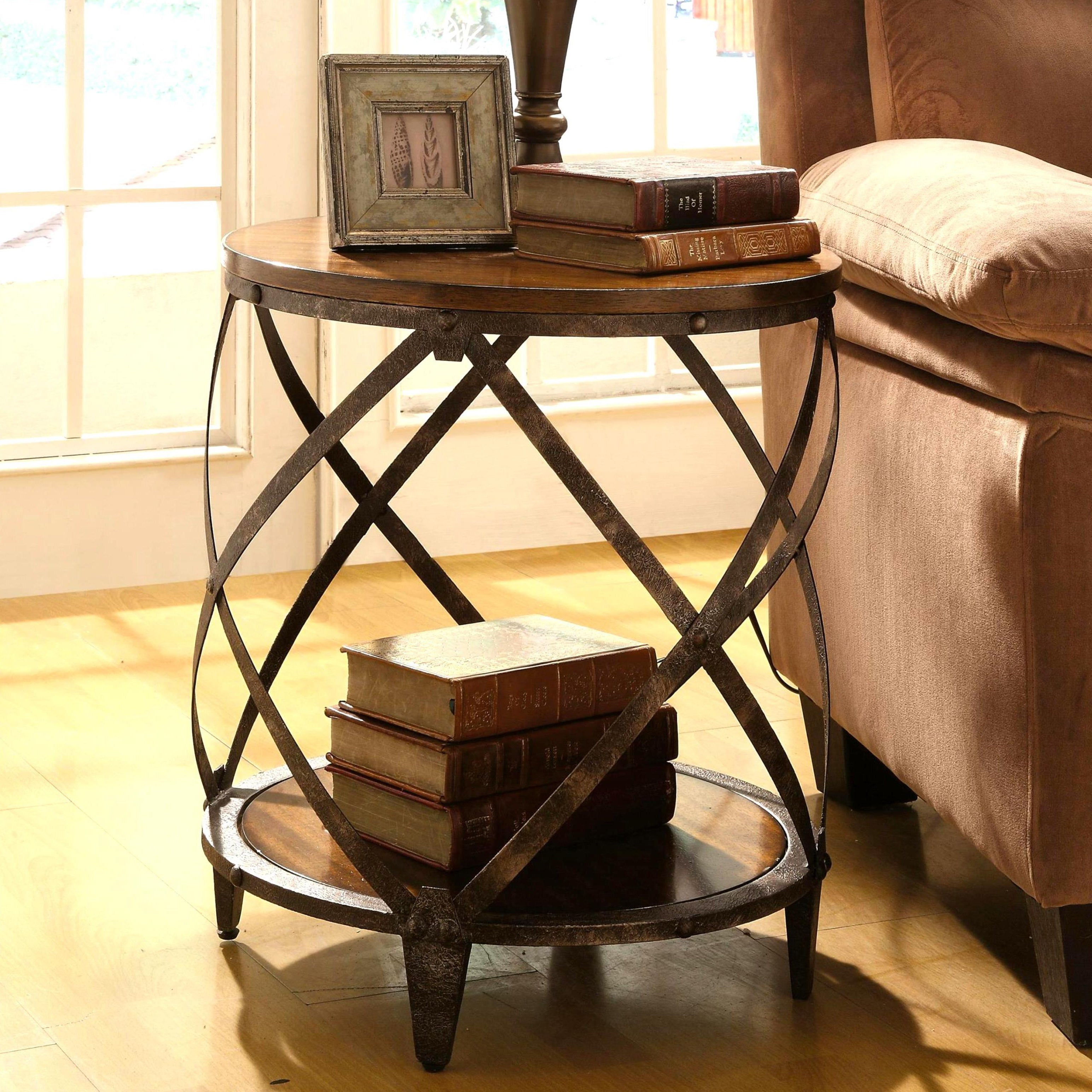 Magnison Distressed Wood Metal Drum Shape Accent Table