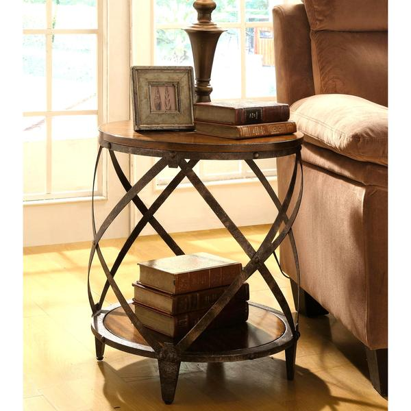 Magnison Distressed Brown Wood Metal Drum Shape Accent Table