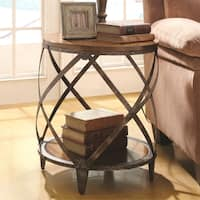 Magnison Distressed Wood/ Metal Drum Shape Accent Table
