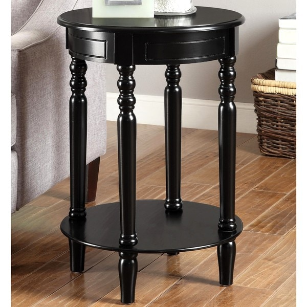 Living Room Round Black Decorative Accent Table Free