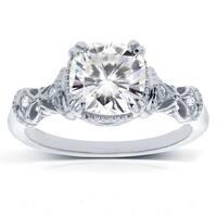 Annello by Kobelli 14k White Gold 1 3/4ct TGW Moissanite and Diamond Accent Ornate Antique Art Nouveau Ring