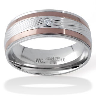 Men's Two-Tone Stainless Steel Cubic Zirconia Grooved Ring