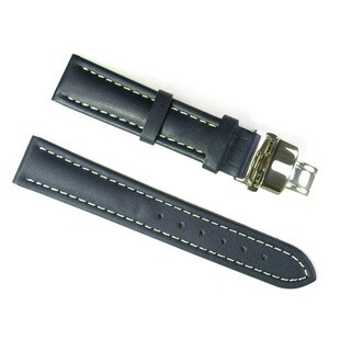Banda Leather Waterproof Italian Calf Leather Black Watch Strap