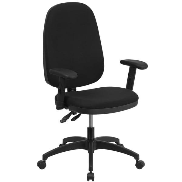high back black fabric multi functional swivel task chair