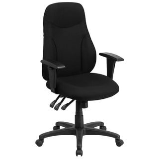 High Back Black Fabric Multi-functional Ergonomic Chair with Height Adjustable Arms