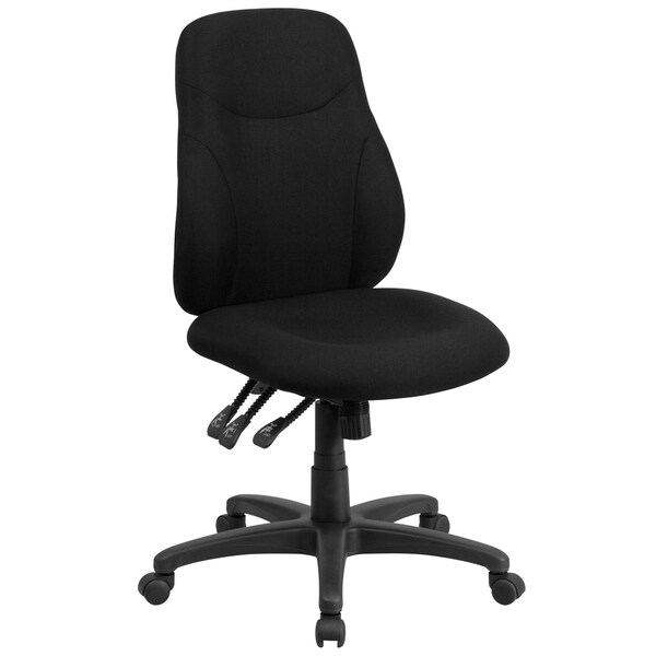 Mid-Back Black Fabric Multifunction Swivel Ergonomic Chair with Back Adjustment