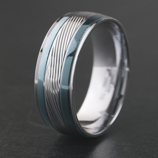 Stainless Steel Greek Key Striped Diagonal Grooved Comfort Fit Band Ring