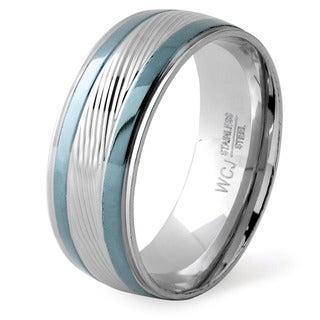 Men's Silverplated and Bluetone Stainless Steel Grooved Ring