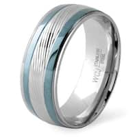 Men's Two Tone Stainless Steel Grooved Ring (8mm) - White