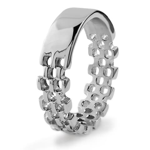 Men's Stainless Steel Link Band Ring - White
